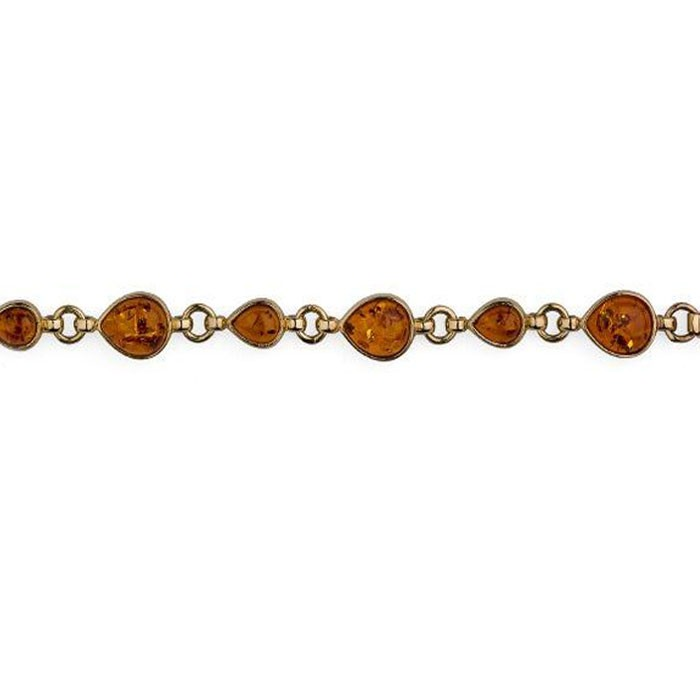 9ct Gold Pear Shaped Golden Amber Bracelet
