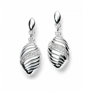Sterling Silver Marquise Shaped CZ Drop Earrings