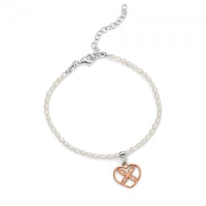Freshwater Pearl Adjustable Bracelet with Heart Charm