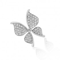 18ct White Gold Butterfly Pendant - 0.45cts