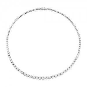 18ct White Gold Graduated Diamond Line Necklace - 10.80cts