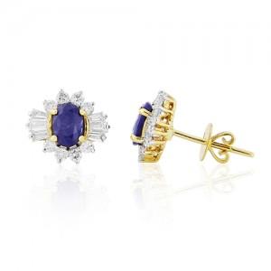 18ct Gold Oval Sapphire & Diamond Earrings - S 2.27  D 1.03ct
