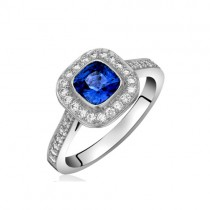 18ct White Gold Sapphire & Diamond Halo Ring - S:1.17 D:32