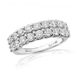 18ct White Gold Double Eternity Ring - 1.47