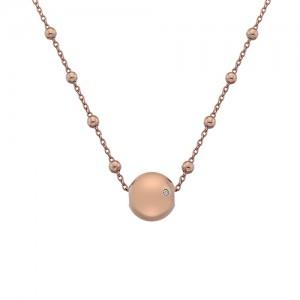 Silver Hot Diamonds Rose Globe Necklace  - DN114