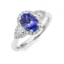 18ct White Gold Tanzanite & Diamond Ring - T 1.47  D 0.57
