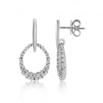 18ct White Gold Diamond Set Oval Drop Earrings - 0.46cts