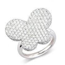 18ct White Gold Pave Set Diamond Butterfly Ring - 2.19cts