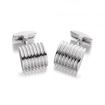 Hoxton London Silver Square Ribbed Cufflinks