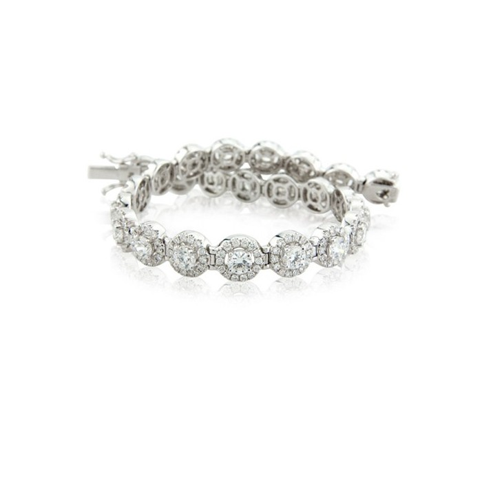 18ct White Gold Diamond Cluster Line Bracelet - 6.13cts