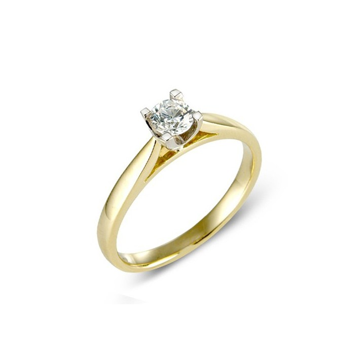 18ct Gold Four Claw Diamond Solitaire Ring - 0.30cts