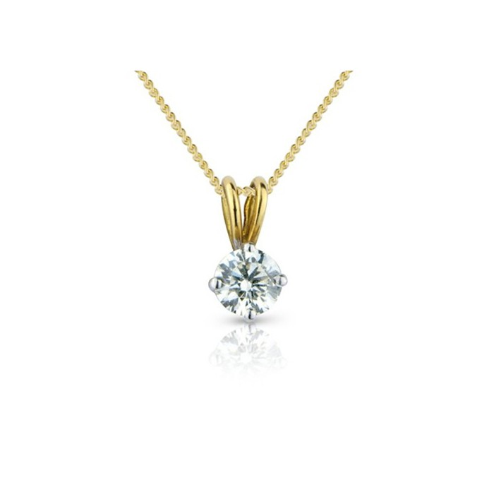 18ct Gold Diamond Solitaire Pendant - 0.46cts