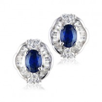 18ct Gold Sapphire & Diamond Cluster Earrings - S:2.00cts D:1.65