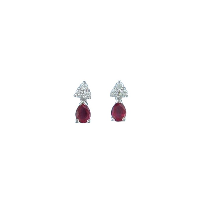 18ct White gold 4st Ruby & Diamond Earrings - R:0.38: D:0.10