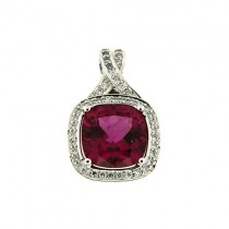 18ct White Gold Rubellite and Diamond Pendant - R:3.10  D:0.16