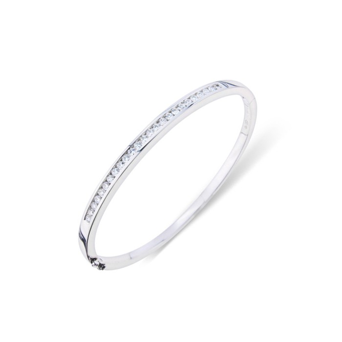 18ct White Gold  Diamond Bangle - 0.93cts