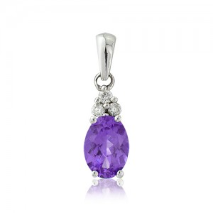 9ct White Gold Diamond & Amethyst Pendant