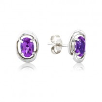 9ct White Gold Oval Amethyst Stud Earrings
