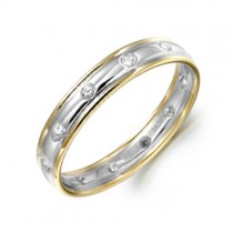 18ct Two Colour Diamond Set Wedding Band - sizes I to O - XD195