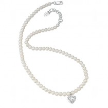 D for Diamonds Pearl Necklace With Silver Heart - Locket  N2370W