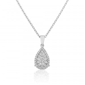 18ct White Gold Tear-drop Diamond Cluster Pendant - 0,.59cts