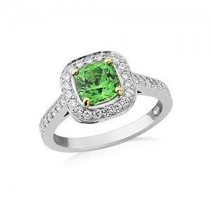 18ct White Gold Tsavorite & Diamond Cluster Ring - T 1.81 D 0.31