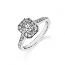 Phoenix Cut Diamond Platinum Halo Ring