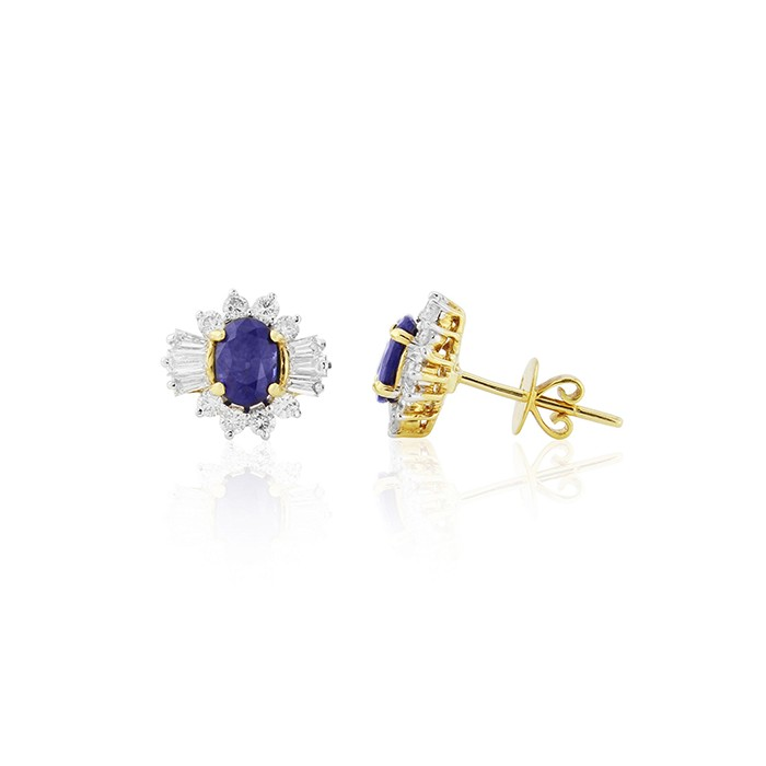 18ct Gold Oval Sapphire & Diamond Earrings - S 2.27  D 1.03ct
