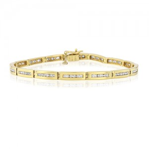 18ct Gold Channel Set Diamond Line Bracelet - 1.00ct