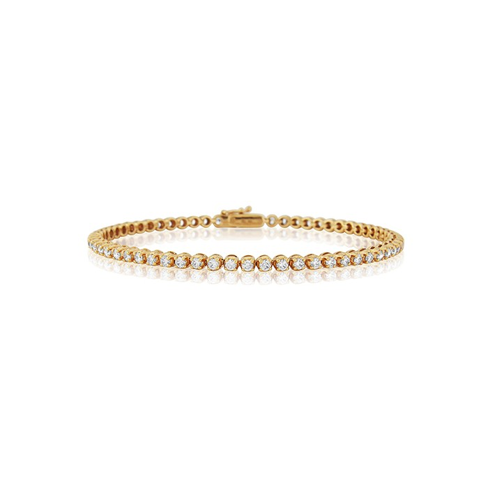 18ct Rose Gold Diamond Line Bracelet - 2.15cts