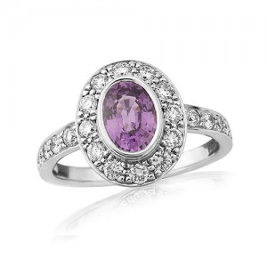 18ct White Gold Purple Sapphire & Diamond Ring -  S1.11 D 0,70