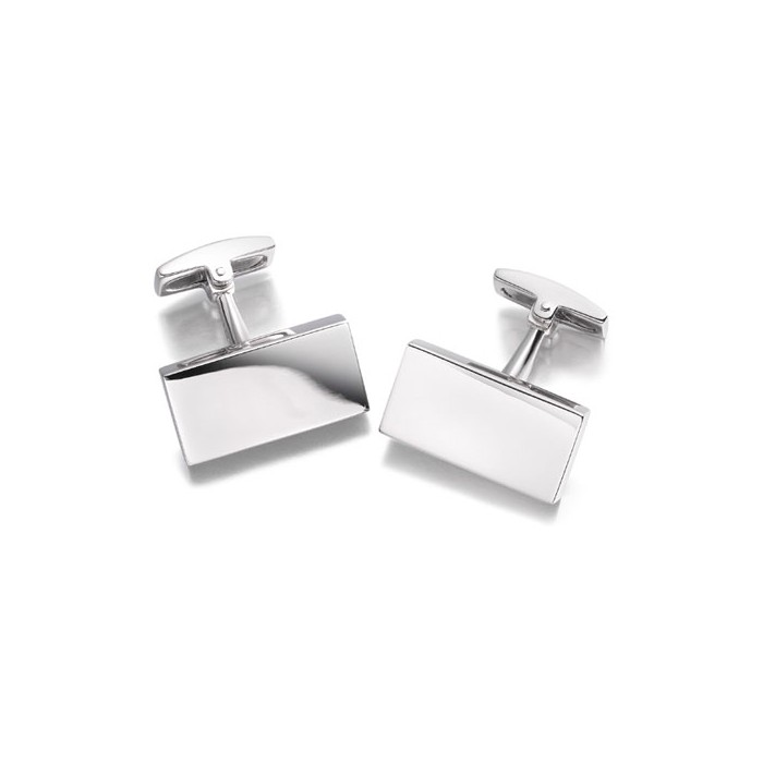 Hoxton London Rectangular Plain Silver Cufflinks