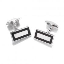 Hoxton London Rectangular Onyx Silver Cufflinks