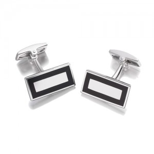 Hoxton London Rectangular Onyx Silver Cufflinks