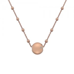 Silver Hot Diamonds Rose Globe Necklace  - DN114