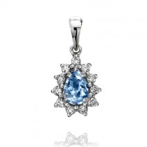 18ct White Gold Auamarine & Diamond Pendant - A 0.30 D 0.15