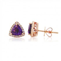 Rose Gold Amethyst & Diamond Earrings