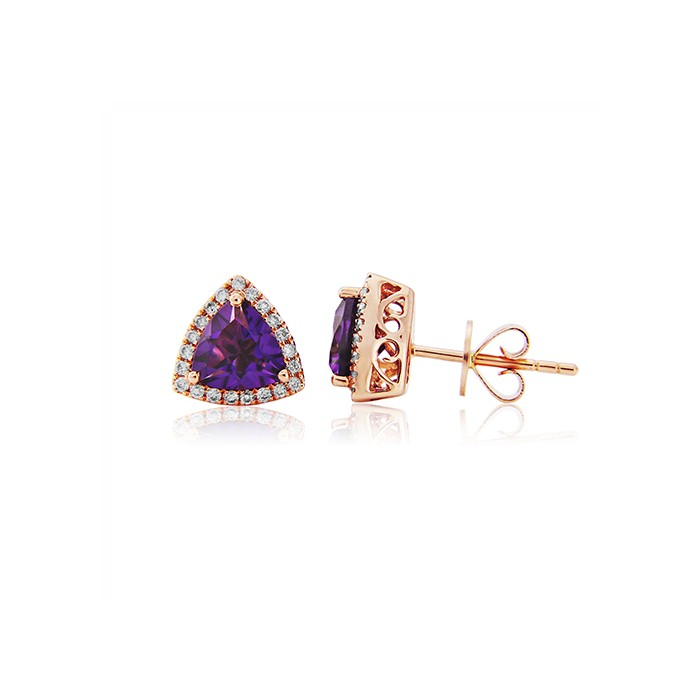 18ct Rose Gold Amethyst & Diamond Cluster Earrings - A 1.25
