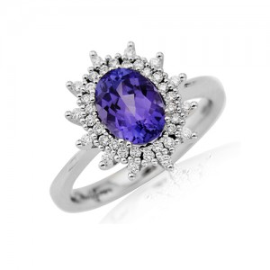 18ct White Gold Tanzanite & diamond Ring - T 1.20 D 0.21