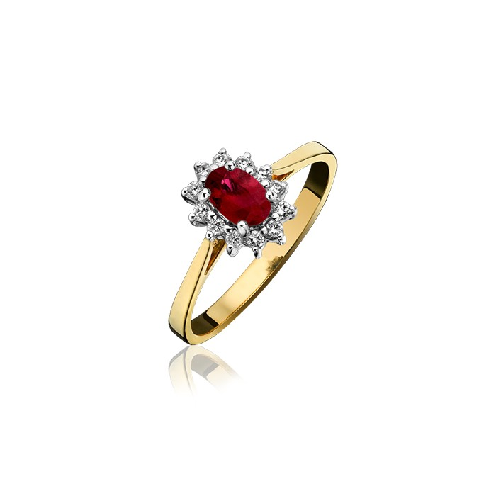 18ct Gold Ruby & Diamond Cluster Ring - R 0.57 D 0.17