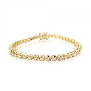 18ct Yellow Gold Diamond Line Bracelet - 5.16cts