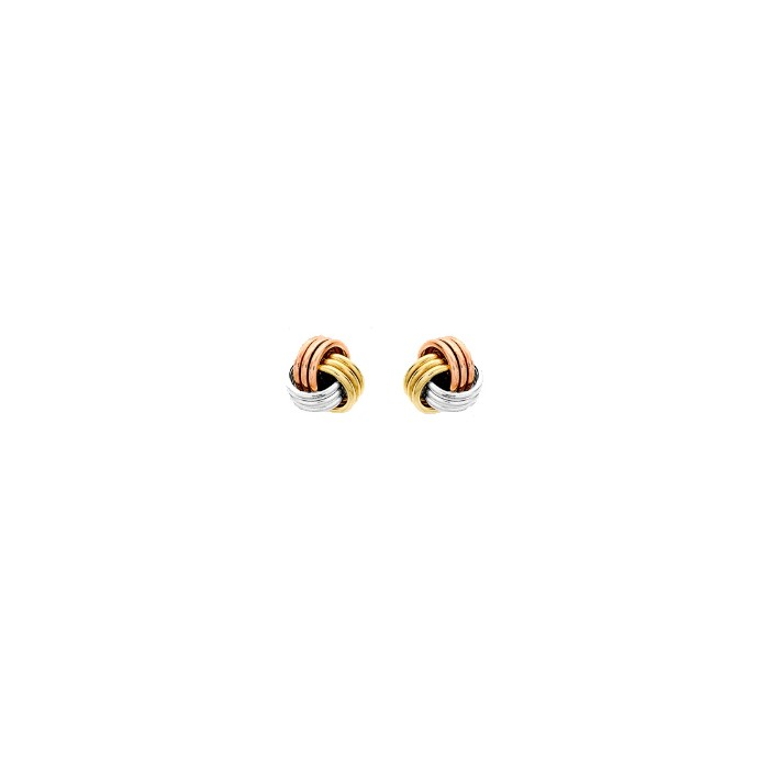 9ct Three Colour Gold 5mm Knot Stud Earrings