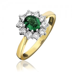 18ct Gold Emerald & Diamond Cluster Ring - E 1.21 D 0.77cts