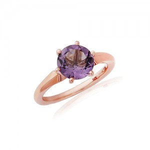 9ct Rose Gold Amethys Solitaire Dress Ring