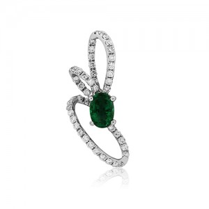 18ct White Gold Emerald & Diamond Knot Pendant - E 0.37 D 0.33