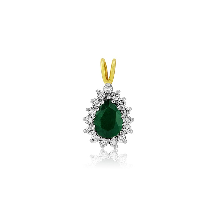18ct Gold Pear Shaped Emerald & Diamond Pendant - E 0.80 D 0.33