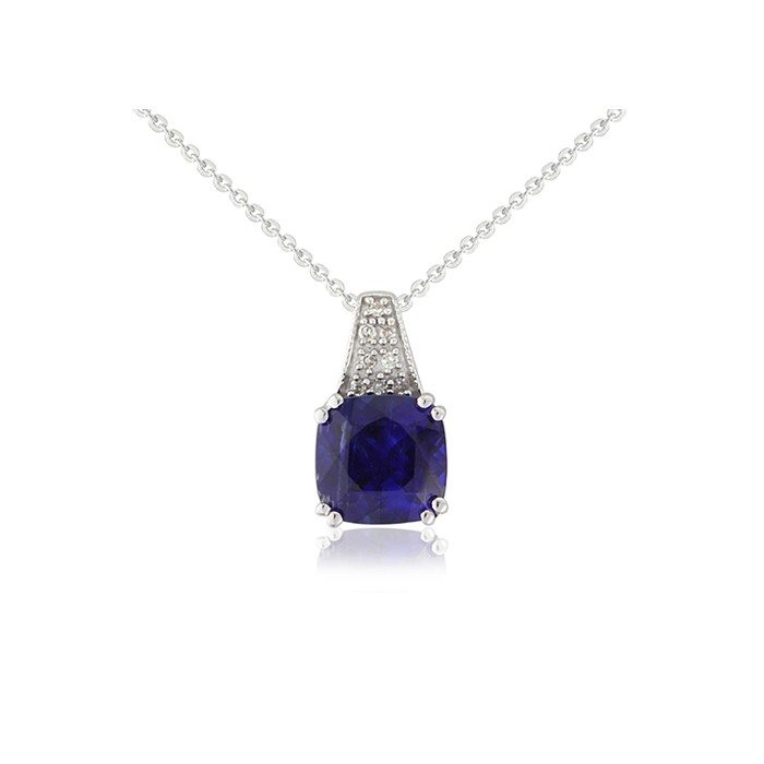 9ct White Gold Diamond & Kyanite Pendant - 0.03cts