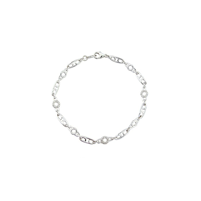 9ct White Gold Diamond  Bracelet - 0.07cts