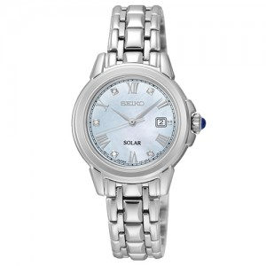 Seiko Ladies Stainless Steel Diamond Solar Watch - SUT243P9