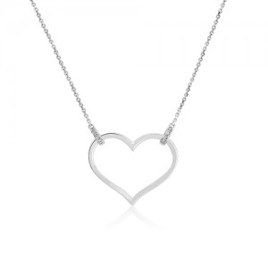 9ct White Gold Open Heart Necklet With Diamonds - 0.02ct